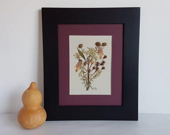Pressed flower art 8x10 matted original pressed flower artwork made with real dried flowers - Dried flower art - Wild flower art - Botanical