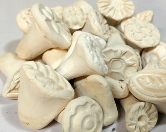 25 Clay STAMP Assortment- BISQUE earthenware TEXTURE stamps for Clay, Ceramics, pmc, fimo, dough, fondant, and more!  Add some detail!
