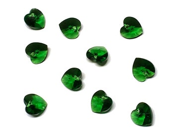 10mm Dark Moss Green 6228 Heart Swarovski Crystal Pendant - Austrian faceted crystal jewelry charm