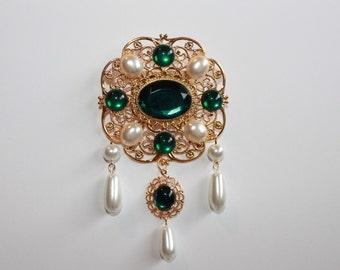 Emerald Green and Pearl Tudor Brooch Renaissance Medieval Jewelry Pin Borgias Jane Seymour