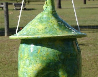 Ceramic Bird Feeder, Pottery Style, Meadow, Speckled