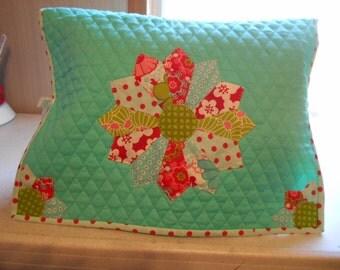 Sewing Machine Cover -Dresden Plate- Aqua Blue, Green and Red Fabrics- Handmade