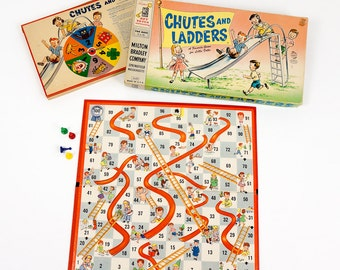 Vintage 1960s Childrens Game / Milton Bradley's Chutes and Ladders Board Game 1960 / Exciting Up and Down Game for Little People