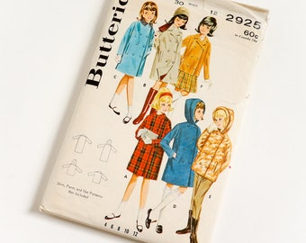 Vintage 1960s Girls Size 12 Spring Fall Double Breasted Coat Raincoat Jacket Butterick Sewing Pattern 2925 / b30 w25 / Missing Hood Facing