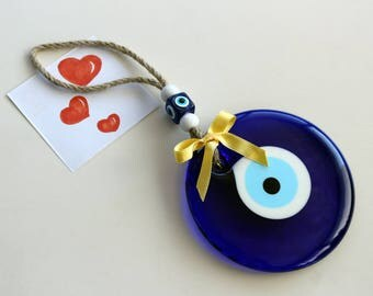 Blue Eye Wall Hanging Glass Evil Eye Spritual Wall Hang, Talisman Happy House Wellness Warming Home Decor Gift