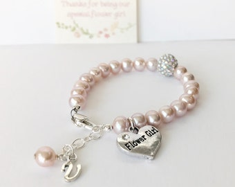 Flower Girl Gift - First Communion Gift - Pearl and Crystal Bracelet - First Communion Bracelet - Pearl Bracelet - Initial Bracelet B246