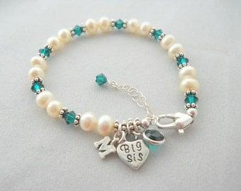 Big Sister Gift - Big Sister Bracelet - Little Sister Gift - Little Sister Bracelet - Pearl Bracelet - Birthstone Bracelet - B250