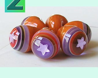 Stars & Stripes Ball Buttons in Candied Orange - 6 beads or buttons, whatever your pleasure - lampwork by Sarah Moran