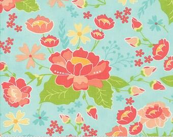 LuLu Lane Moda Floral Flower Fabric Garden Spring Flowers on Aqua Blue 29020 19