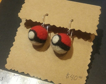 Pokeball Earrings, Felted Wool with Sterling Silver Wires
