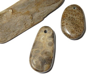 Polished Petoskey and Charlevoix Stone Pendants, drilled beach stones, Genuine Lake Michigan Fossils, up north treasures, rustic  supplies