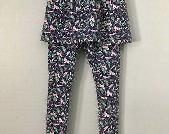 Girls Skirted Leggings - Printed Patterned Unicorn Leggings with Skirt