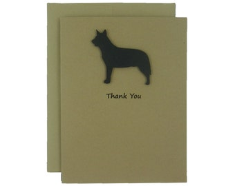 Australian Cattle Dog Thank You Card 10 Pack or Single Card Dog Greeting Cards Dog Thank You Cards Cattle Dog Handmade Greeting Cards