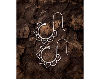 Tribal silver hoops, Lotus Earrings, Silver hoop earrings, Ethnic earrings, Tribal earrings, Gypsy hoops, Silver earrings,