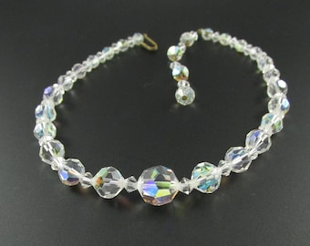 Graduated Crystal Bead Necklace, Crystal Necklace, Bridal Necklace, Wedding Necklace, Crystal Choker