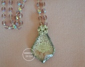 Crystal Solder pendant with pink velvet and lace  light purple rosary chain