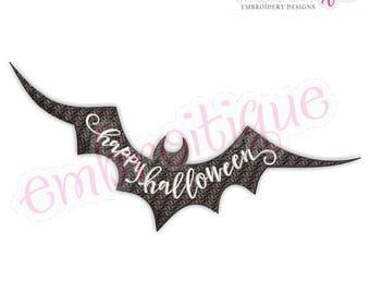 Happy Halloween Bat - Fill Stitch -Instant Download Machine Embroidery Design