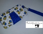 READY TO SHIP - Despicable Me Minions & Blue Wallet Clutch with 8 Credit Card Slots, 1 Zipper pouch, and 2 Slots for Money - Christmas Gift