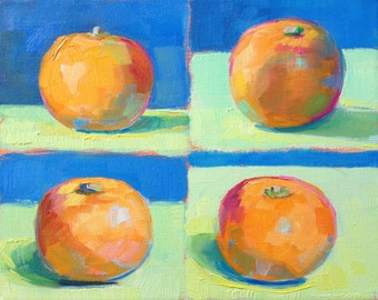 clementine painting, four perspectives, 8x10