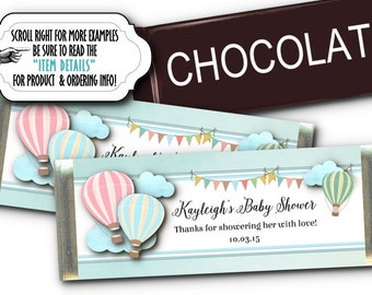 12 Candy Bar Wrappers, Candy Favors, Pastel Colors, Hot Air Balloons, Wedding, Engagement Party, Bridal Shower, Birthday, Baby Shower