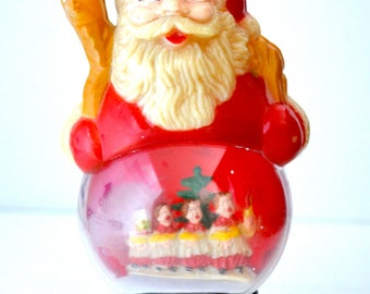 Vintage Plastic Santa Claus Figurine Diorama With Carolers Made in Hong Kong
