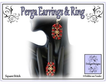 Beading Pattern, Tutorial, Earrings, Ring - PERGA