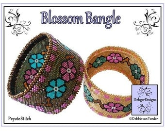 Beading Pattern, Tutorial, Peyote Stitch, Bangle - BLOSSOM