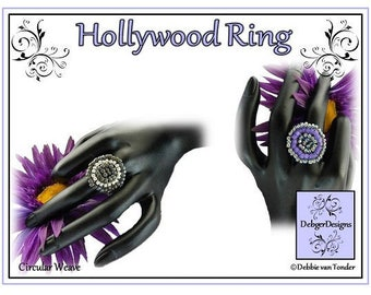 Beading Pattern, Tutorial, Ring - HOLLYWOOD