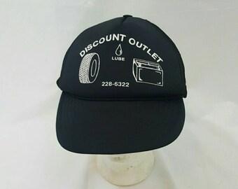 VIntage 1980s  Black Mechanic  Discount Outlet Lube Trucker Hat