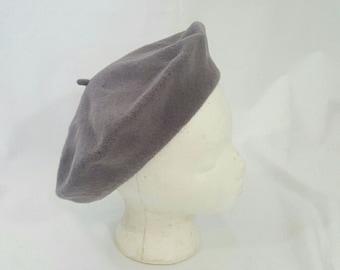 Vintage Gray Wool Basque Parisian Beret