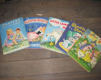 Vintage Lot (5) Children's Books/Baby Books/Nursery Books/Vintage Story Books