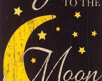 """Noir I Love You to The Moon and Back Timeless Treasures Fabric 23"""" Panel"""