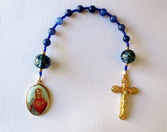 Blue One decade Rosary with the Immaculate Heart of Mary, Single decade Rosary of Blue Aventurine