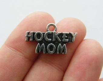 BULK 20 Hockey mom charms antique silver tone M619