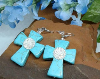 Large Turquoise Druzy Cross Earrings