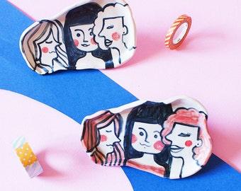 Girls Oval  Ceramic Plate, Girls Oval Hand-Built Pottery Plate, Girls Oval Trinket Dish