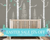Easter Sale - Birch Tree Wall Decal with Birds and Deer, Baby Nursery Wall Stickers, Nursery Wall Decals, Forest with Birds and Deers Sti...
