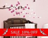 Sale - Cherry Blossom Branch with Birds - Kids Vinyl Wall Sticker Decal Set