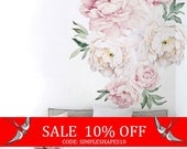 Sale - Peony Flowers Wall Sticker, Vintage Watercolor Peony Wall Stickers - Peel and Stick Removable Stickers