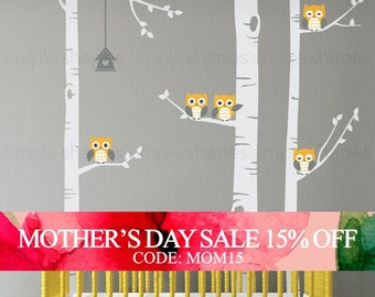 Mothers Day Sale - Birch Tree Wall Decal, Birch Tree With Owls Wall Sticker Set, Birch Tree Decal, Baby Nursery Wall Stickers W1118