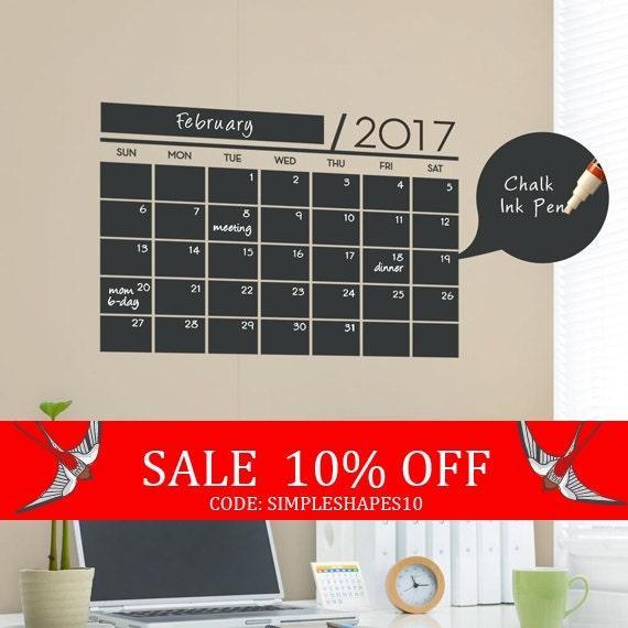 Sale - Chalkboard 2017 Wall Calendar - Vinyl Wall Decals - 2017 Calendar