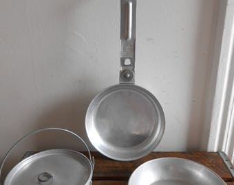 Vintage Girl Scout Camping Cookware 4 Piece Aluminum Cookware Pans Lightweight Cookware for Camping or Hiking