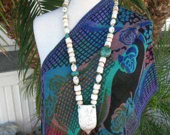 Long Tribal Treasure, Nagaland Conch Shell Pendant, Bone, Conch and Real Turquoise Beads, Indian Statement Necklace Set  by SandraDesigns