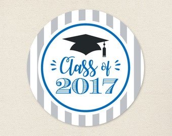 Graduation Stickers (Class of 2017) - Choose Your Own Colors - Sheet of 12 or 24
