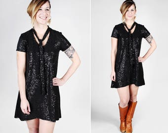 Sequins Stardust Swing Dress – Handmade 70's inspired Keyhole A-line Shift Black Dress Short Sleeves Necktie Sparkle Shine MADE TO Order