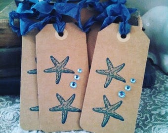 coastal chic beachy starfish etoile de mer tags lot of 7