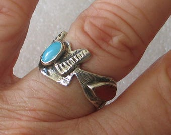 Size7  Funky Turquoise  and Coral Sterling Silver Ring