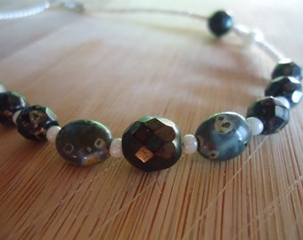 Beaded Necklace - Stone and Faceted Glass Beads, Pearls, Sterling Silver Findings,
