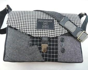 """Womens Messenger Bag, Gift for women,  messenger bag 13"""" laptop Messenger Bag, Laptop Sleeve  Recycled Suit Coat Upcycled"""