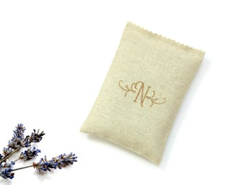 Personalized sachet, organic lavender sachet embroidered monogram letter, linen sachet drawer freshener, bridesmaids gifts, wedding favor
